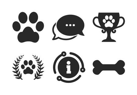 Dog paw sign. Chat, info sign. Pets icons. Winner laurel wreath and cup symbol. Pets food. Classic style speech bubble icon. Vector