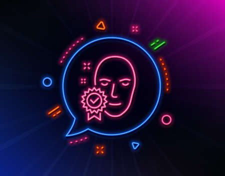 Face verified line icon. Neon laser lights. Access granted sign. Facial identification success symbol. Glow laser speech bubble. Neon lights chat bubble. Banner badge with face verified icon. Vector Stok Fotoğraf - 129944070