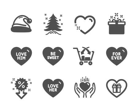 Set of Holidays icons, such as Christmas tree, Santa hat, Hold heart, Cross sell, Discount, For ever, Romantic gift, Be sweet, Heart, Love her, Special offer, Love him classic icons. Vector Ilustrace
