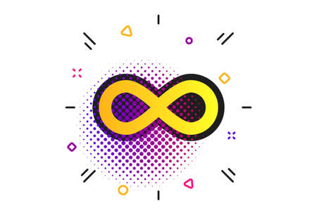 Limitless sign icon. Halftone dots pattern. Infinity symbol. Classic flat limitless icon. Vector Çizim