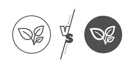 Grow plant leaf sign. Versus concept. Leaves line icon. Environmental care symbol. Line vs classic leaves icon. Vector Illustration