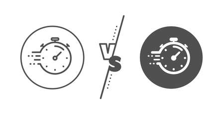 Time management sign. Versus concept. Timer line icon. Stopwatch symbol. Line vs classic timer icon. Vector Ilustracja