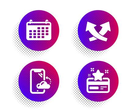 Smartphone cloud, Calendar and Intersection arrows icons simple set. Halftone dots button. Loyalty card sign. Phone backup, Business audit, Exchange. Bonus points. Business set. Vector Illustration