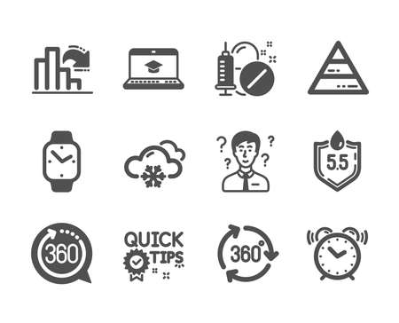 Set of Science icons, such as 360 degrees, Pyramid chart, Smartwatch, Ph neutral, Quick tips, 360 degree, Medical drugs, Support consultant, Decreasing graph, Alarm clock, Snow weather. Vector