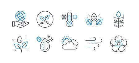 Set of Nature icons, such as Thermometer, Sunny weather, Gluten free, Organic tested, Plants watering, Dirty water, Windy weather, Startup, Safe planet, Natural linen line icons. Vector Иллюстрация