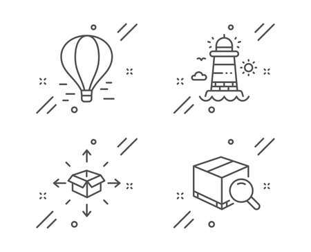 Parcel delivery, Air balloon and Lighthouse line icons set. Search package sign. Logistics service, Flight travel, Beacon tower. Tracking service. Transportation set. Vector