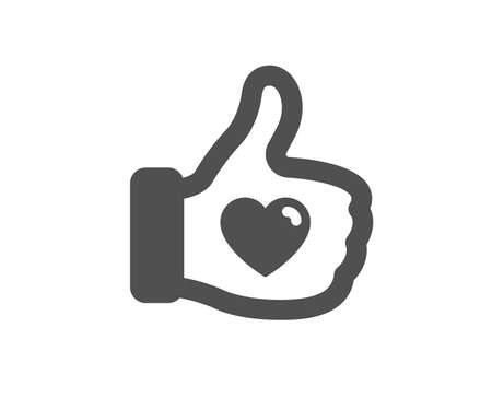 Thumbs up finger sign. Like hand icon. Brand ambassador gesture symbol. Classic flat style. Simple like hand icon. Vector Illustration
