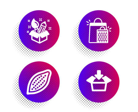 Cocoa nut, Creativity and Shopping bags icons simple set. Halftone dots button. Get box sign. Vegetarian food, Design idea, Sale marketing. Send package. Business set. Vector  イラスト・ベクター素材