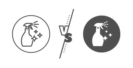 Washing liquid or Cleanser symbol. Versus concept. Cleaning spray line icon. Housekeeping equipment sign. Line vs classic washing Cleanser icon. Vector