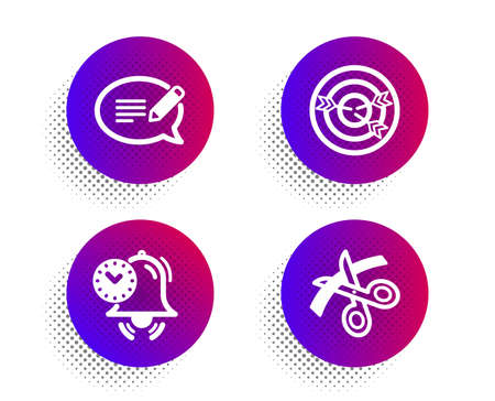 Time management, Targeting and Message icons simple set. Halftone dots button. Scissors sign. Alarm clock, Target with arrows, Speech bubble. Cutting ribbon. Education set. Vector