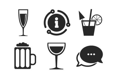 Champagne sparkling wine and beer symbols. Chat, info sign. Alcoholic drinks icons. Wine glass and cocktail signs. Classic style speech bubble icon. Vector