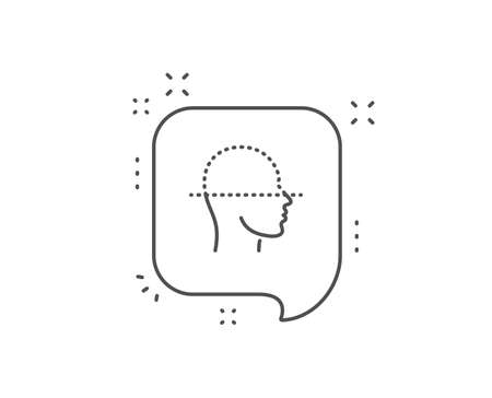 Face scanning line icon. Chat bubble design. Facial scan sign. Head recognition symbol. Outline concept. Thin line face scanning icon. Vector Stok Fotoğraf - 129944297