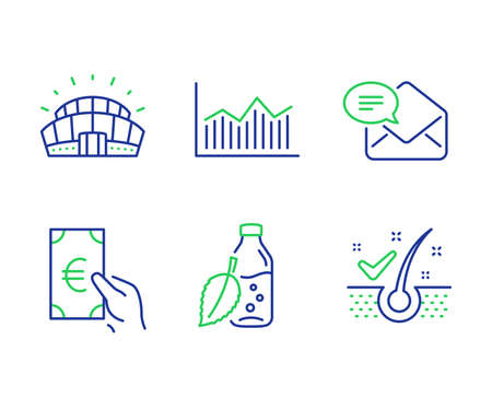 Finance, Money diagram and New mail line icons set. Water bottle, Sports stadium and Anti-dandruff flakes signs. Eur cash, Currency diagram, Received e-mail. Mint leaf drink. Business set. Vector Illustration