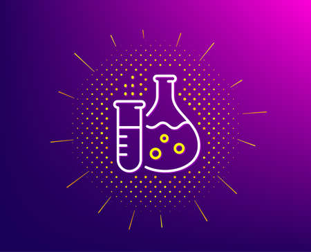 Chemistry flask line icon. Halftone pattern. Laboratory tube sign. Analysis lab symbol. Gradient background. Chemistry flask line icon. Yellow halftone pattern. Vector