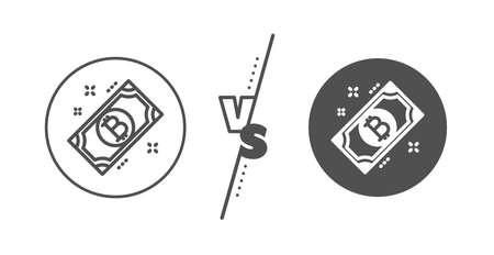 Cryptocurrency cash sign. Versus concept. Bitcoin line icon. Crypto money symbol. Line vs classic bitcoin icon. Vector Ilustracja