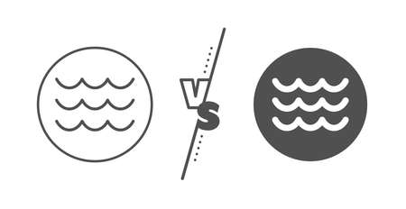 Sea flowing sign. Versus concept. Waves line icon. Water symbol. Line vs classic waves icon. Vector Çizim