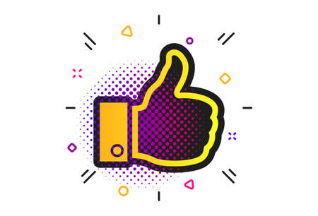 Like sign icon. Halftone dots pattern. Thumb up sign. Hand finger up symbol. Classic flat like icon. Vector