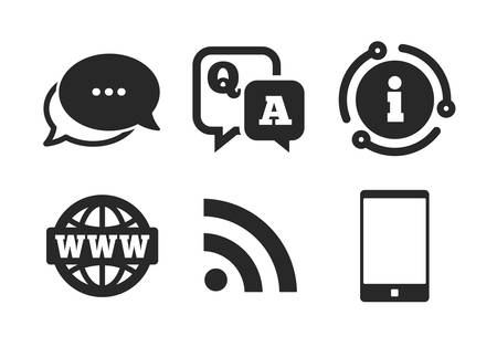 Smartphone and Q&A chat speech bubble symbols. Chat, info sign. Question answer icon. RSS feed and internet globe signs. Communication Classic style speech bubble icon. Vector