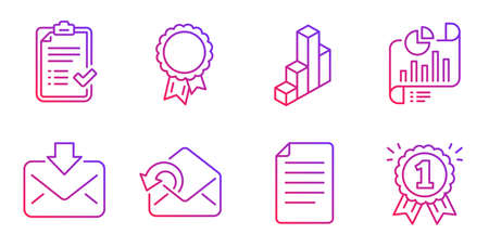 3d chart, Send mail and File line icons set. Success, Approved checklist and Incoming mail signs. Report document, Reward symbols. Presentation column, Sent message. Education set. Vector