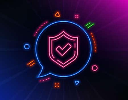 Check mark line icon. Neon laser lights. Accepted or Approve sign. Tick shield symbol. Glow laser speech bubble. Neon lights chat bubble. Banner badge with confirmed icon. Vector