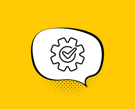 Cogwheel with check line icon. Comic speech bubble. Engineering tool sign. Cog gear symbol. Yellow background with chat bubble. Cogwheel icon. Colorful banner. Vector