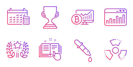 Calendar, Bitcoin chart and Chemistry pipette line icons set. Ranking, Award cup and Technical documentation signs. Marketing statistics, Chemical hazard symbols. Gradient calendar icon. Vector Ilustracja