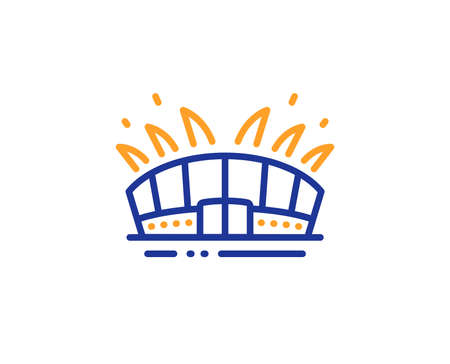 Sport complex sign. Arena stadium line icon. Championship building symbol. Colorful outline concept. Blue and orange thin line arena stadium icon. Vector