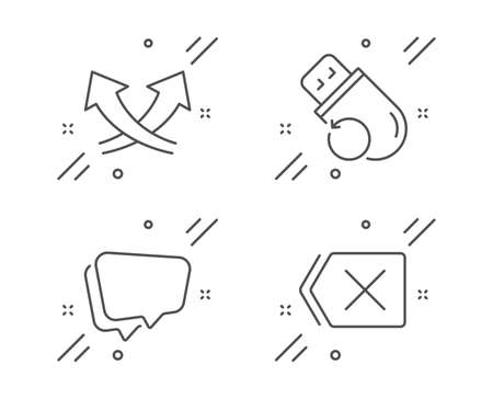Intersection arrows, Speech bubble and Flash memory line icons set. Remove sign. Exchange, Chat message, Recovery usb. Delete button. Technology set. Line intersection arrows outline icon. Vector Ilustração