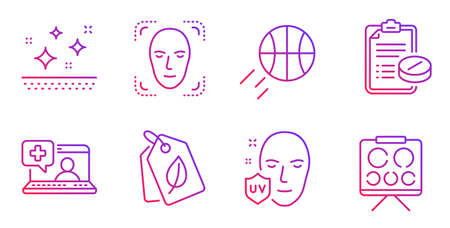 Medical prescription, Basketball and Clean skin line icons set. Face detection, Bio tags and Uv protection signs. Medical help, Vision board symbols. Medicine drugs, Sport ball. Vector