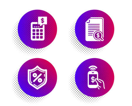 Calculator, Financial documents and Loan percent icons simple set. Halftone dots button. Phone payment sign. Money management, Check docs, Protection shield. Mobile pay. Finance set. Vector