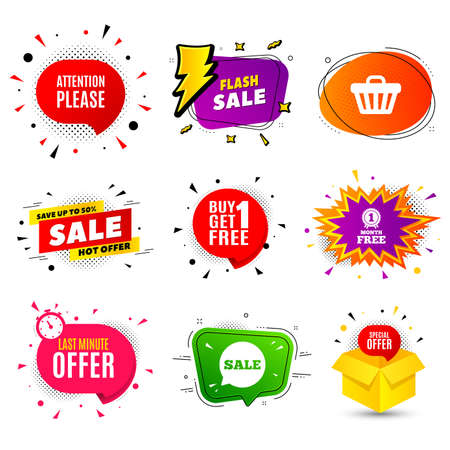 Attention please. Banner badge, flash sale bubble. Special offer sign. Important information symbol. Last minute offer. Sticker badge, comic bubble. Discounts box. Vector