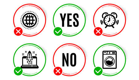 Globe, Time management and Start business icons simple set. Yes no check box. Washing machine sign. Internet world, Alarm clock, Launch idea. Laundry. Technology set. Globe icon. Check mark. Vector Ilustração