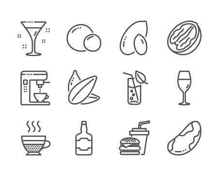 Set of Food and drink icons, such as Sunflower seed, Water glass, Peanut, Coffee maker, Hamburger, Brazil nut, Peas, Whiskey bottle, Cafe creme, Cocktail, Pecan nut, Wineglass line icons. Vector Illusztráció