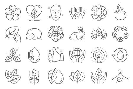Organic cosmetics line icons. No alcohol free, synthetic fragrance. Slow fashion, sustainable textiles icons. Fair trade, eco organic cosmetics. Gluten free, animal testing. Line signs set. Vector 일러스트