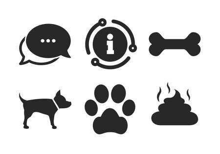 Dog paw and feces signs. Chat, info sign. Pets icons. Clean up after pets. Pets food. Classic style speech bubble icon. Vector