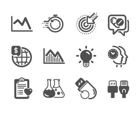 Conjunto de iconos de ciencia, como dinero mundial, gestión del tiempo, bombilla, medicamentos, historial del paciente, laboratorio de química, gráfico de líneas, memoria flash, recuperación rápida, gráfico de inversión, orientación. Vector