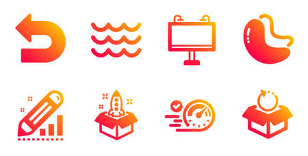 Edit statistics, Undo and Startup line icons set. Road banner, Waves and Speedometer signs. Cashew nut, Return package symbols. Seo manage, Left turn. Gradient edit statistics icons set. Vector Ilustracja