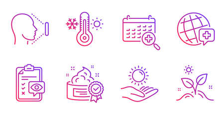 Sun protection, Medical calendar and World medicine line icons set. Eye checklist, Face id and Thermometer signs. Cream, Grow plant symbols. Ultraviolet care, Doctor appointment. Vector Stok Fotoğraf - 129947226