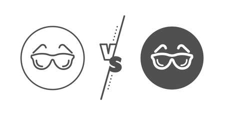Oculist clinic sign. Versus concept. Eyeglasses line icon. Optometry vision symbol. Line vs classic eyeglasses icon. Vector