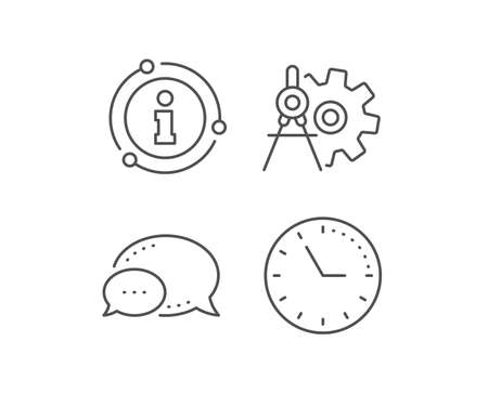 Cogwheel dividers line icon. Chat bubble, info sign elements. Engineering tool sign. Cog gear symbol. Linear cogwheel dividers outline icon. Information bubble. Vector Stock Vector - 129947255