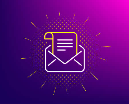 Mail newsletter line icon. Halftone pattern. Read Message correspondence sign. E-mail symbol. Gradient background. Mail newsletter line icon. Yellow halftone pattern. Vector Иллюстрация