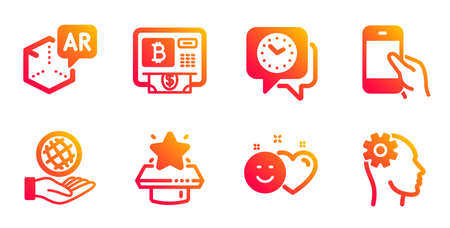 Hold smartphone, Smile and Winner podium line icons set. Bitcoin atm, Augmented reality and Clock signs. Safe planet, Engineering symbols. Phone call, Social media like. Business set. Vector