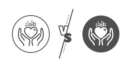 Care love emotion sign. Versus concept. Hold heart line icon. Valentine day symbol. Line vs classic hold heart icon. Vector