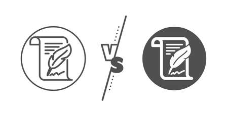 Copywriting sign. Versus concept. Feather signature line icon. Feedback symbol. Line vs classic feather icon. Vector