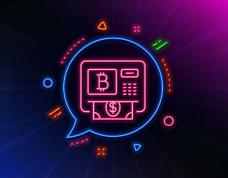 Bitcoin ATM line icon. Neon laser lights. Cryptocurrency cash sign. Dollar money symbol. Glow laser speech bubble. Neon lights chat bubble. Banner badge with bitcoin atm icon. Vector