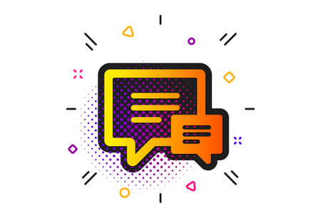 Speech bubble sign. Halftone circles pattern. Chat icon. Communication or Comment symbol. Classic flat comment icon. Vector