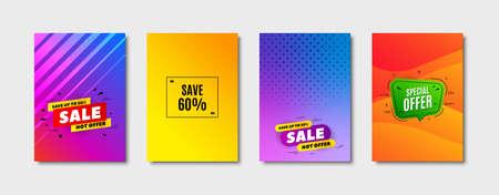 Save 60% off. Cover design, banner badge. Sale Discount offer price sign. Special offer symbol. Poster template. Sale, hot offer discount. Flyer or cover background. Coupon, banner design. Vector