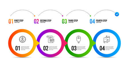 Scroll down, Headhunting and Payment card line icons set. Timeline infographic. Journey path sign. Mouse swipe, Person in target, Agreement conditions. Project process. Business set. Vector Ilustração