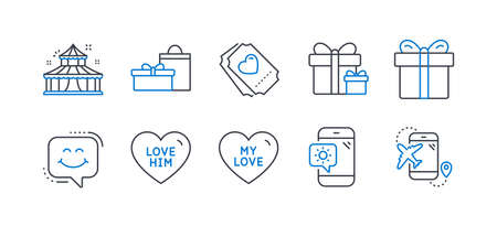 Set of Holidays icons, such as Love him, Love ticket, Weather phone, Circus, Surprise package, Gifts, Smile chat, Gift box, Flight destination line icons. Sweetheart, Heart. Line love him icon. Vector