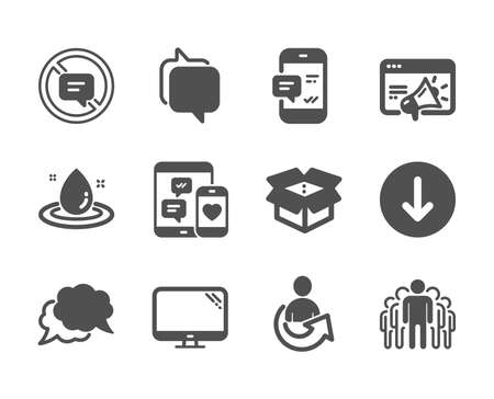 Set of Technology icons, such as Share, Stop talking, Smartphone notification, Chat message, Seo marketing, Open box, Fuel energy, Computer, Scroll down, Group, Social media, Messenger. Vector Фото со стока - 129830918